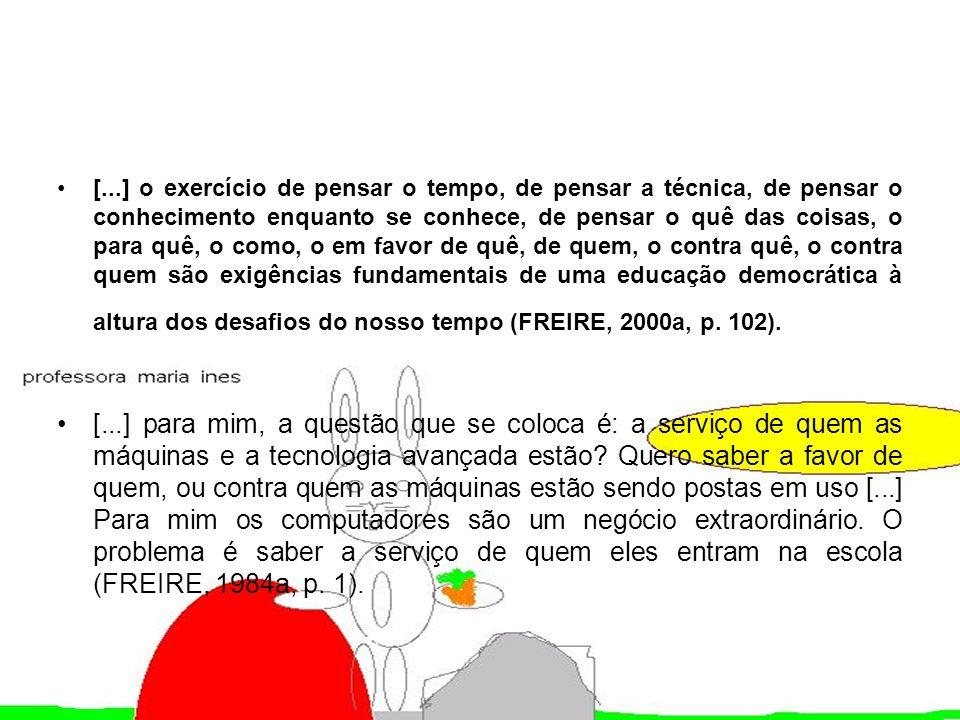 [...] o exercício de pensar o tempo, de pensar a técnica, de pensar o conhecimento enquanto se conhece, de pensar o quê das coisas, o para quê, o como, o em favor de quê, de quem, o contra quê, o contra quem são exigências fundamentais de uma educação democrática à altura dos desafios do nosso tempo (FREIRE, 2000a, p. 102).